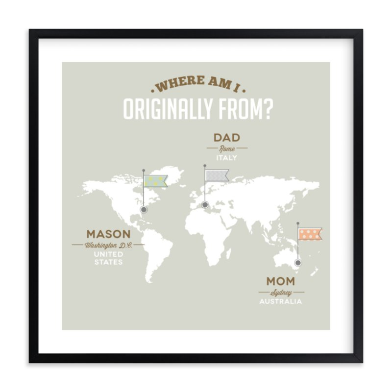 """""""Where Am I From?"""" - Children's Custom Art Print by Yooli Lee in beautiful frame options and a variety of sizes."""