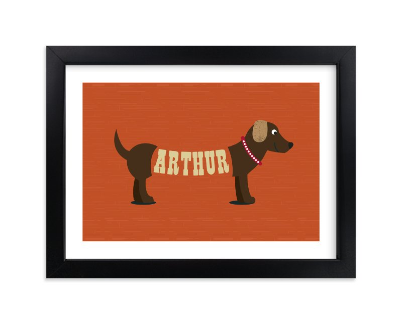 """Hot Diggity Dog"" - Children's Custom Art Print by Leah Shannon in beautiful frame options and a variety of sizes."