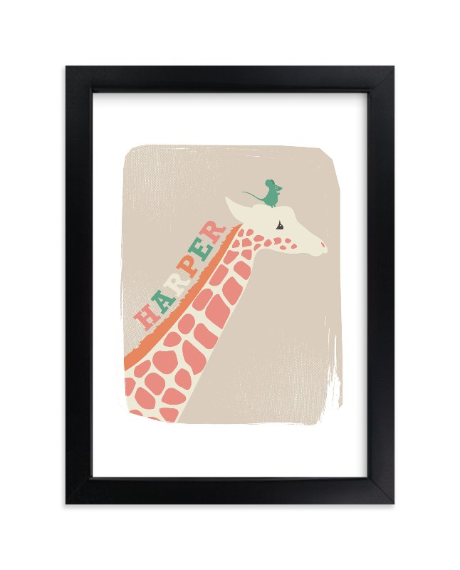 """""""Giraffe and Mouse"""" - Children's Custom Art Print by kadie foppiano in beautiful frame options and a variety of sizes."""