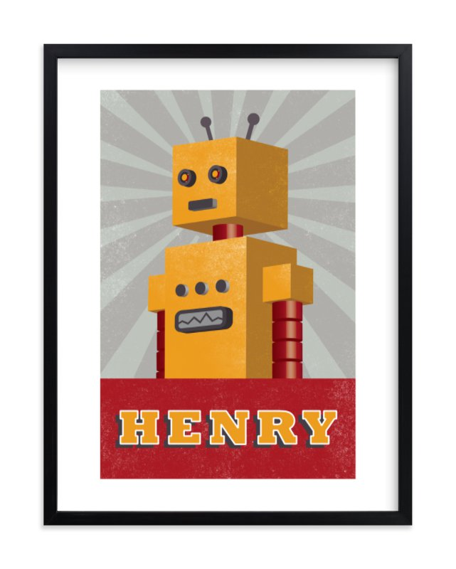"""""""Vintage Bot"""" - Children's Custom Art Print by Olivia Raufman in beautiful frame options and a variety of sizes."""