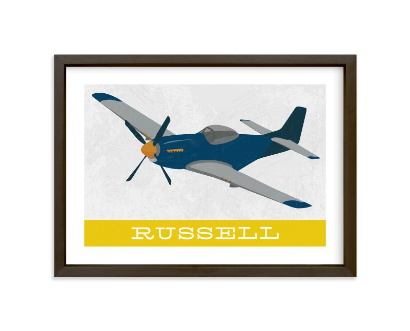 """""""P51 Mustang"""" - Children's Custom Art Print by Danie Romrell in beautiful frame options and a variety of sizes."""