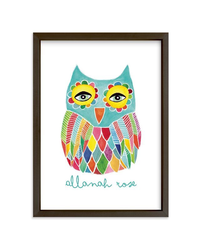 """""""Watercolor Rainbow Owl"""" - Children's Custom Art Print by Pip Gerard in beautiful frame options and a variety of sizes."""