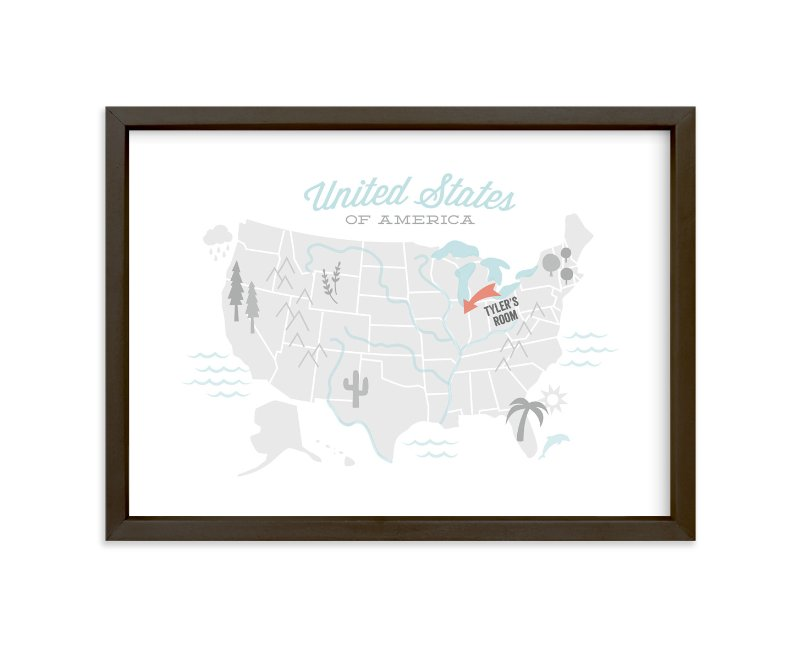 """""""You Are Here American Map"""" - Children's Custom Art Print by Jessie Steury in beautiful frame options and a variety of sizes."""