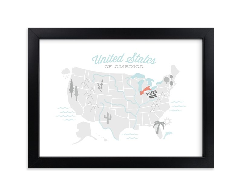 """You Are Here American Map"" - Children's Custom Art Print by Jessie Steury in beautiful frame options and a variety of sizes."