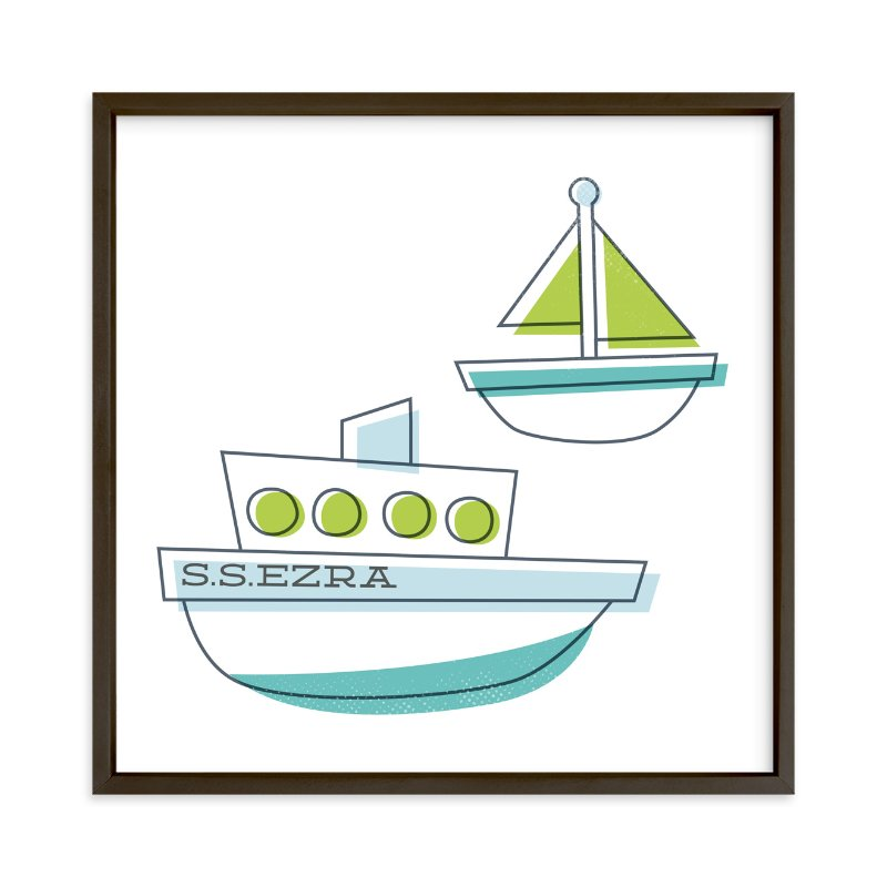 """Sail It"" - Children's Custom Art Print by Jessie Steury in beautiful frame options and a variety of sizes."