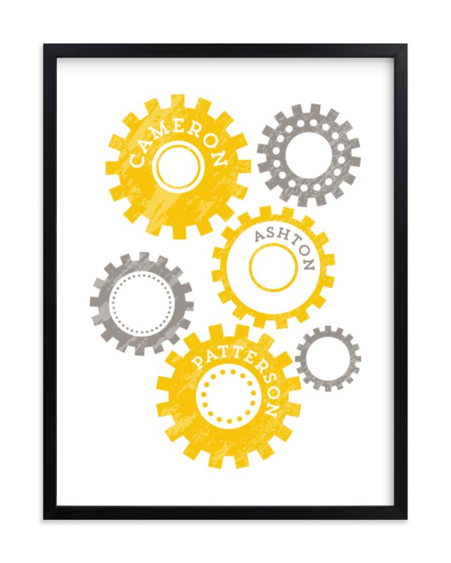"""""""Namely Gears"""" - Children's Custom Art Print by Lehan Veenker in beautiful frame options and a variety of sizes."""