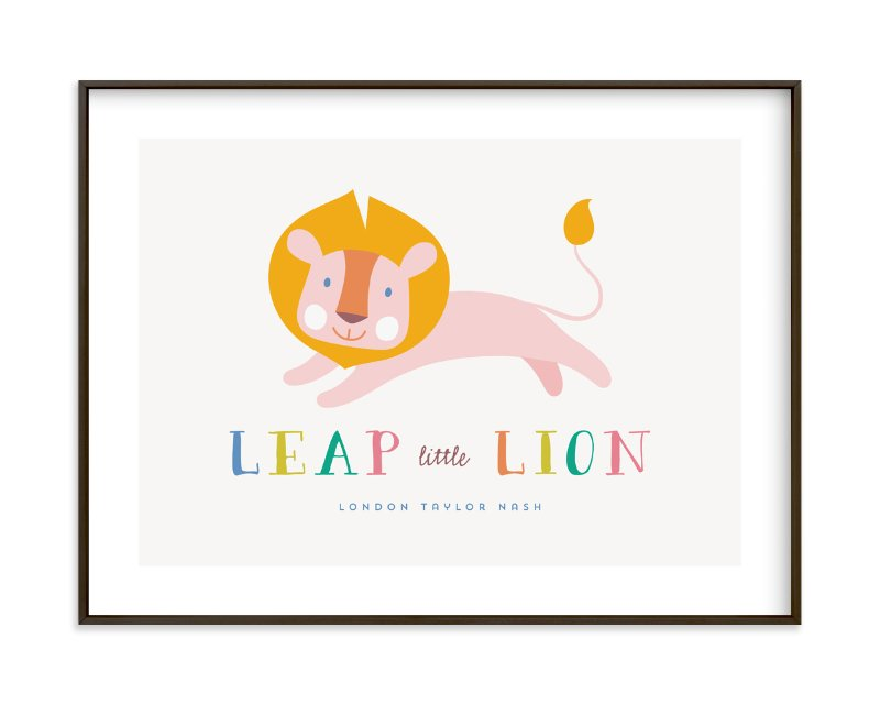 """""""Leap Little Lion"""" - Children's Custom Art Print by Melanie Pavao in beautiful frame options and a variety of sizes."""