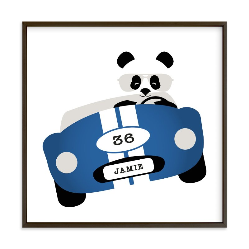 """""""Speedway Panda"""" - Children's Custom Art Print by Kampai Designs in beautiful frame options and a variety of sizes."""