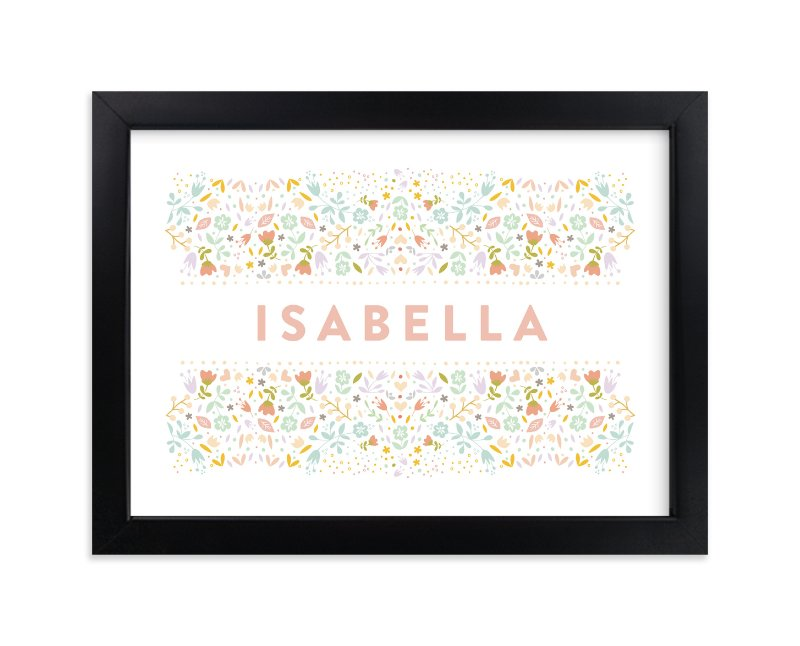 """""""Floral Name"""" - Children's Custom Art Print by Phrosne Ras in beautiful frame options and a variety of sizes."""