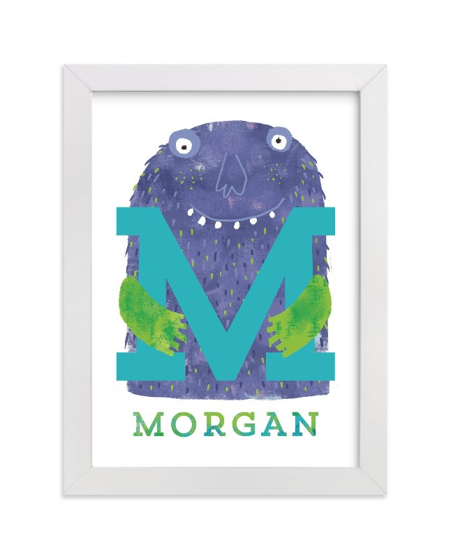 """""""INITIAL MONSTER"""" - Children's Custom Art Print by Evelline Andrya in beautiful frame options and a variety of sizes."""