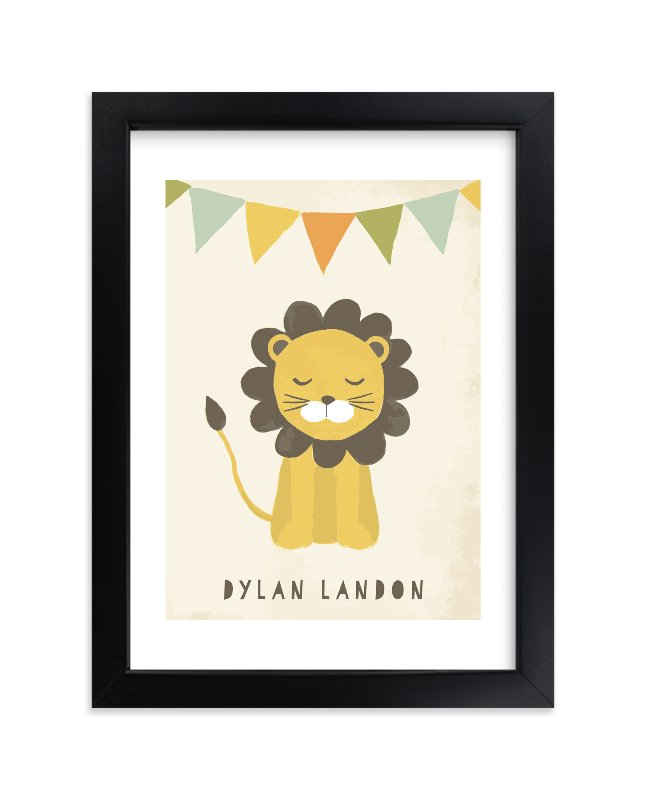 """Sleepy Lion"" - Children's Custom Art Print by August and Oak in beautiful frame options and a variety of sizes."