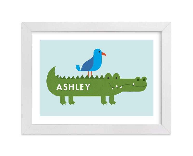 """Alligator and Friend"" - Children's Custom Art Print by Jessica Ogden in beautiful frame options and a variety of sizes."