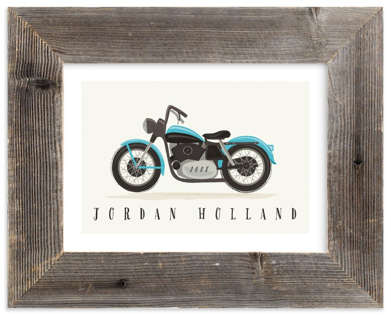 """""""vintage motorcycle"""" - Children's Custom Art Print by Karidy Walker in beautiful frame options and a variety of sizes."""