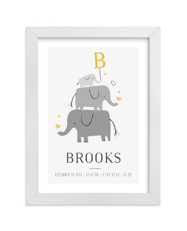 """Elephant Family"" - Children's Custom Art Print by Chryssi Tsoupanarias in beautiful frame options and a variety of sizes."