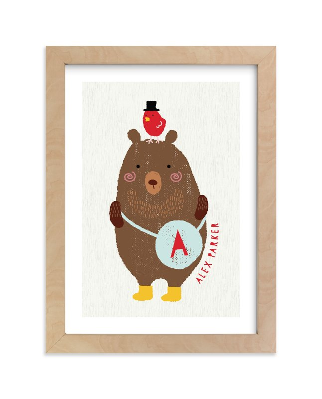 """""""Little Bear and red bird"""" - Children's Custom Art Print by iamtanya in beautiful frame options and a variety of sizes."""