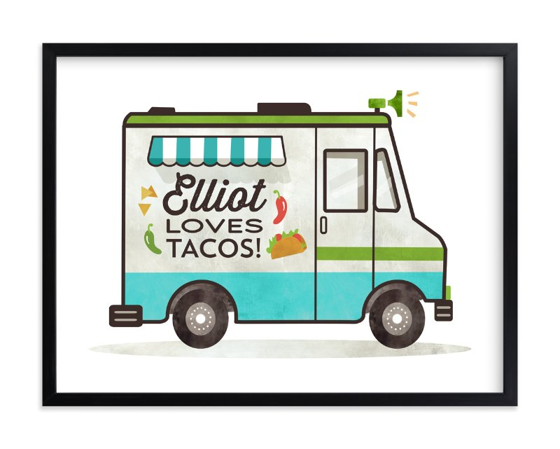 """""""Taco Truck"""" - Children's Custom Art Print by Susie Allen in beautiful frame options and a variety of sizes."""