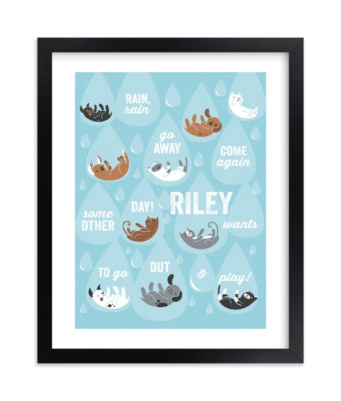 """""""Raining Cats & Dogs"""" - Children's Custom Art Print by Mandy Rider in beautiful frame options and a variety of sizes."""