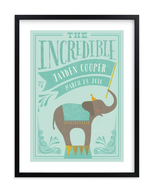 """""""Circus Elephant"""" - Children's Custom Art Print by Karidy Walker in beautiful frame options and a variety of sizes."""