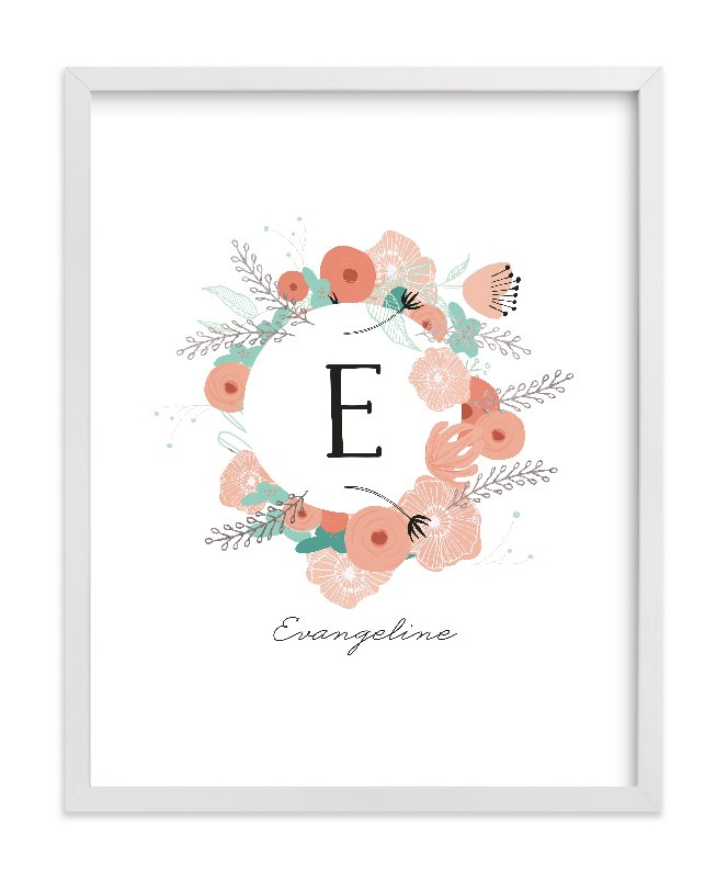 """""""Vintage Floral Monogram"""" - Foil Pressed Children's Custom Photo Art Print by Hannah Williams in beautiful frame options and a variety of sizes."""