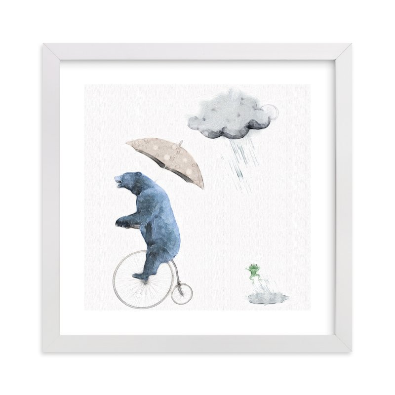 """""""That's one fast bike, said the Cloud"""" - Limited Edition Art Print by Maja Cunningham in beautiful frame options and a variety of sizes."""