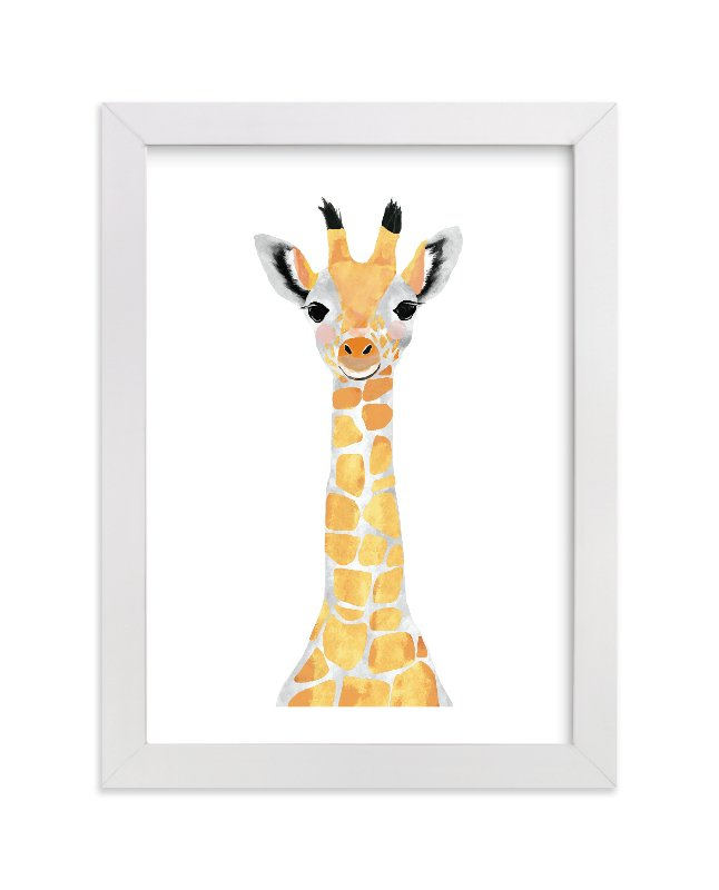 """""""baby animal.giraffe"""" - Limited Edition Art Print by Cass Loh in beautiful frame options and a variety of sizes."""