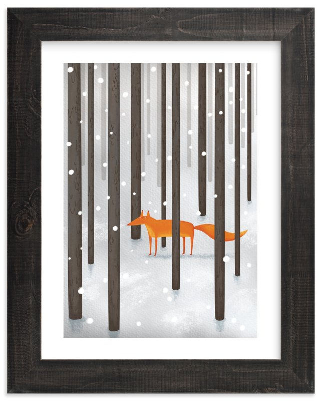 """The Fox In The Snow"" - Limited Edition Art Print by Katerina Pushkina in beautiful frame options and a variety of sizes."
