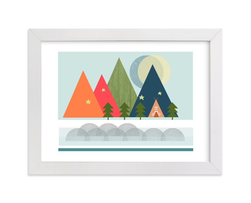 """Gone Camping"" - Limited Edition Art Print by Alison Jerry Designs in beautiful frame options and a variety of sizes."