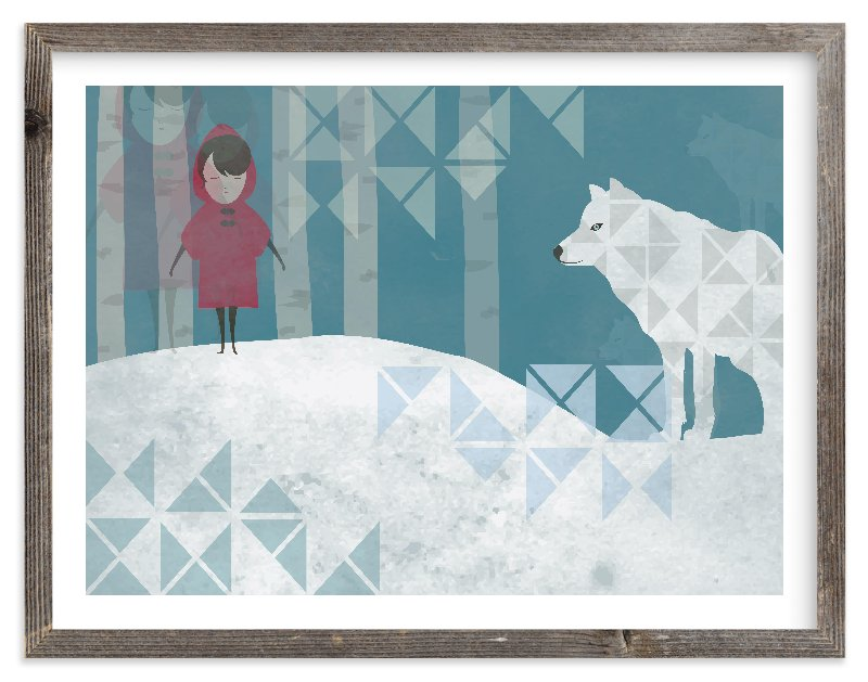 """""""Girl and Wolf"""" - Limited Edition Art Print by Milk and Marrow in beautiful frame options and a variety of sizes."""