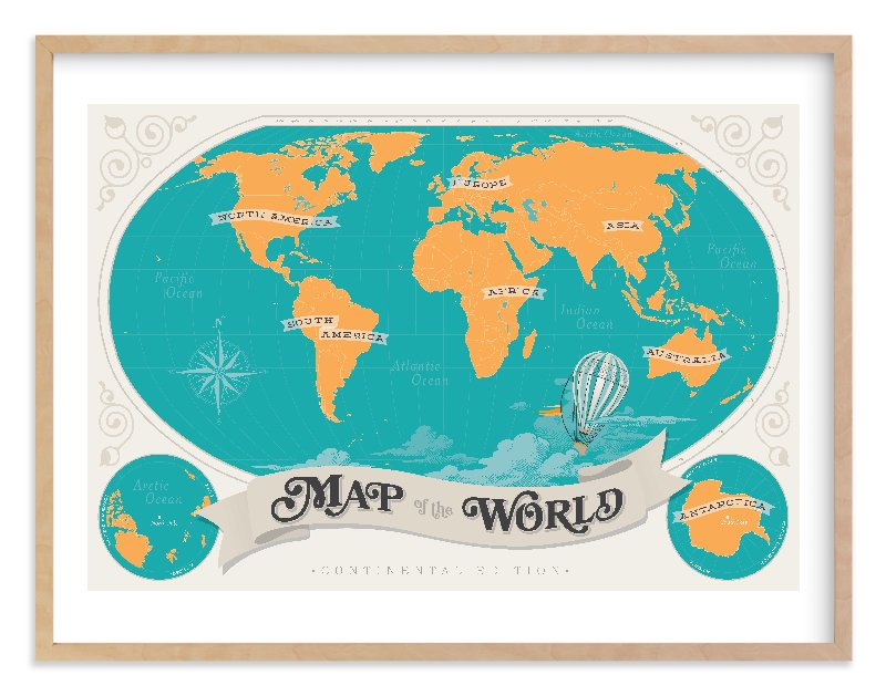 """""""Map Of The World"""" - Limited Edition Art Print by GeekInk Design in beautiful frame options and a variety of sizes."""