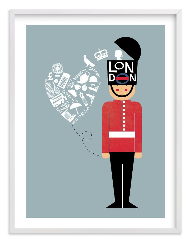 """""""I Left My Heart In London"""" - Limited Edition Art Print by Bonjour Berry in beautiful frame options and a variety of sizes."""