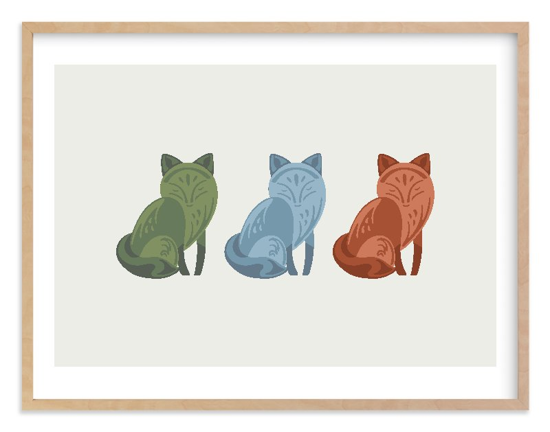 """""""Mod Foxes"""" - Limited Edition Art Print by Jennifer Morehead in beautiful frame options and a variety of sizes."""
