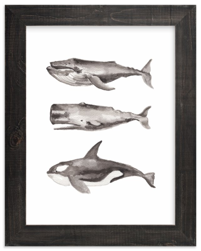 """""""Three Stacked Whales"""" - Limited Edition Art Print by Two if by Sea Studios in beautiful frame options and a variety of sizes."""
