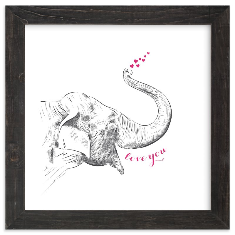 """Elephant Love"" - Limited Edition Art Print by Sweet Lucy Girl in beautiful frame options and a variety of sizes."