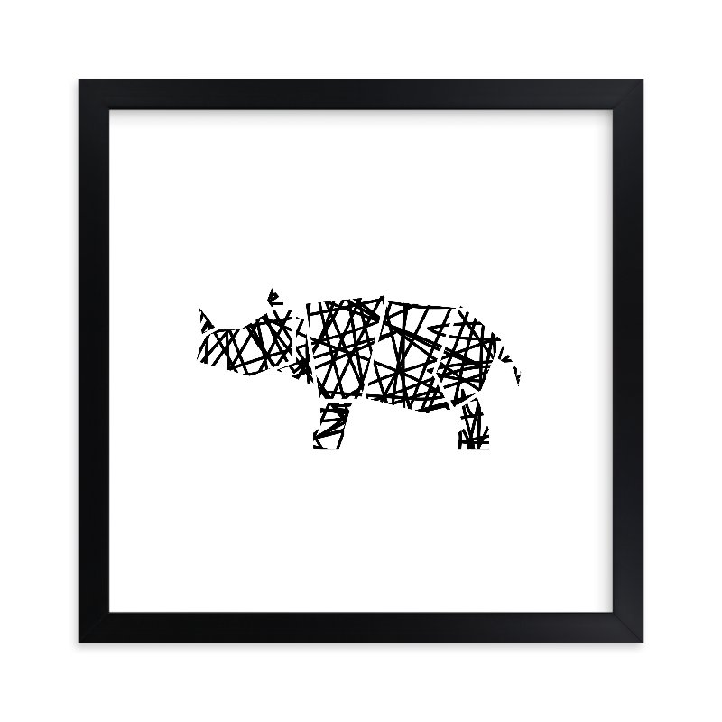 """""""Modern Abstract Scribble Rhino"""" - Limited Edition Art Print by Noelle Stolworthy in beautiful frame options and a variety of sizes."""
