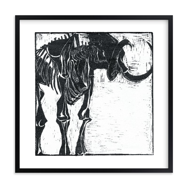 """""""Dino Woodcut"""" - Limited Edition Art Print by South City Press in beautiful frame options and a variety of sizes."""