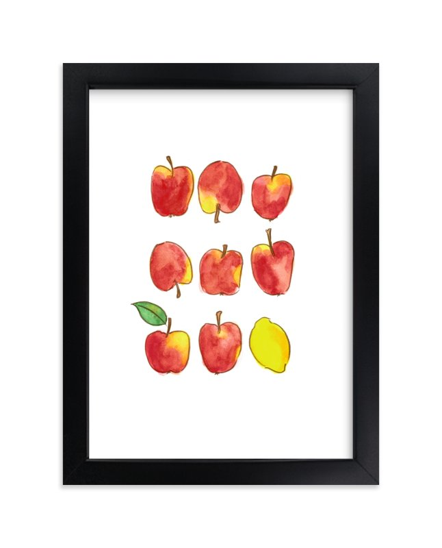 """""""Apples and a Lemon"""" - Limited Edition Art Print by Emy Art Studio in beautiful frame options and a variety of sizes."""