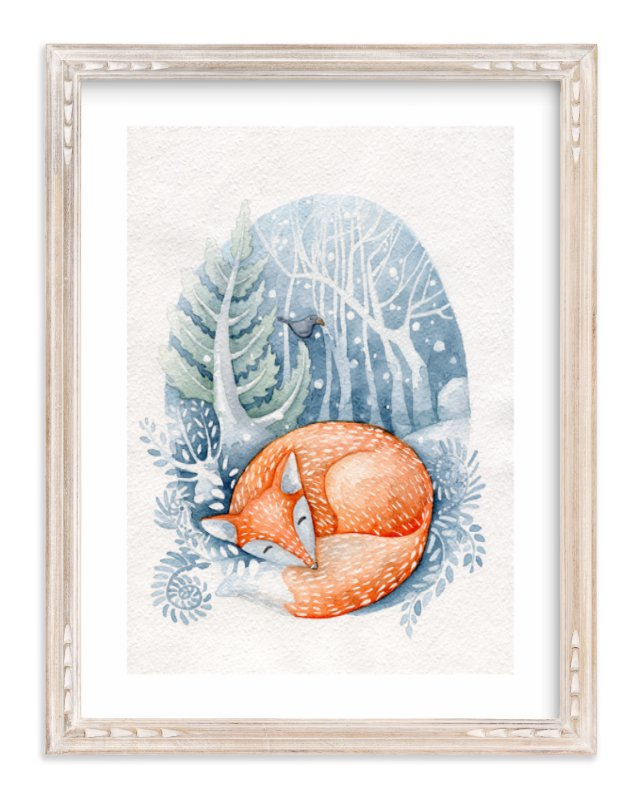 """""""Sleeping on the snow"""" - Limited Edition Art Print by Anastasia Semanina in beautiful frame options and a variety of sizes."""