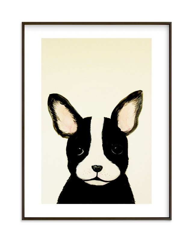 """French bulldog puppy"" - Limited Edition Art Print by Chloe Chung in beautiful frame options and a variety of sizes."