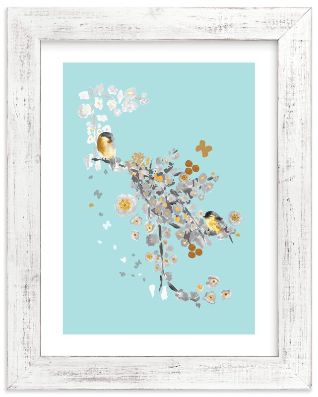 """""""Blossom Birds"""" - Limited Edition Art Print by Acadreamia Designs in beautiful frame options and a variety of sizes."""