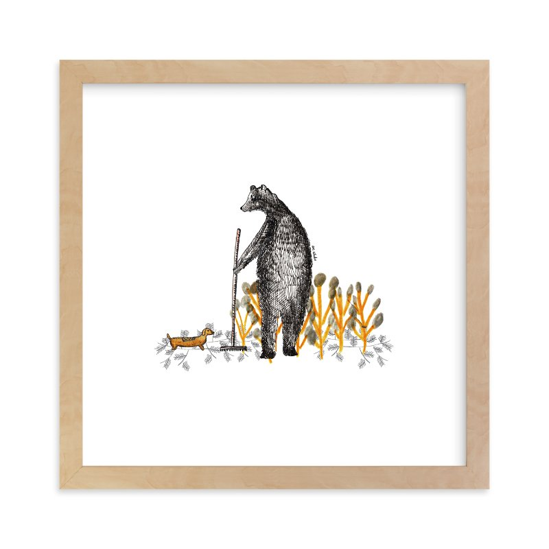 """Bear and autumn leaves"" - Limited Edition Art Print by CAROLINA LEONI in beautiful frame options and a variety of sizes."