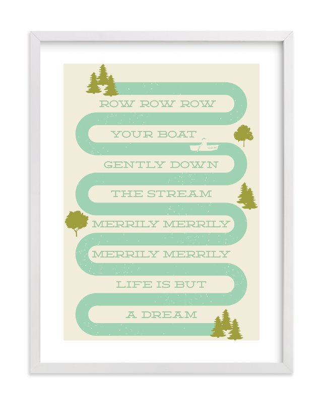 """Row Row Row Your Boat"" - Limited Edition Art Print by Shiny Penny Studio in beautiful frame options and a variety of sizes."