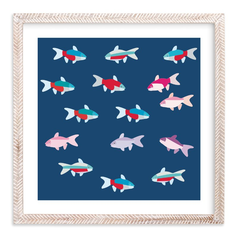 """""""A group of tetras fish"""" - Limited Edition Art Print by Aree Sukiam in beautiful frame options and a variety of sizes."""