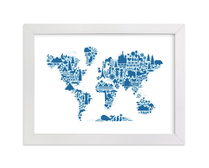 Little big world map wall art prints by jessie steury minted little big world map by jessie steury in beautiful frame options and a variety gumiabroncs Choice Image