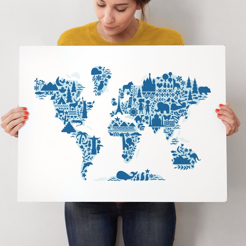 Little Big World Map Wall Art Prints By Jessie Steury Minted - Little big world map