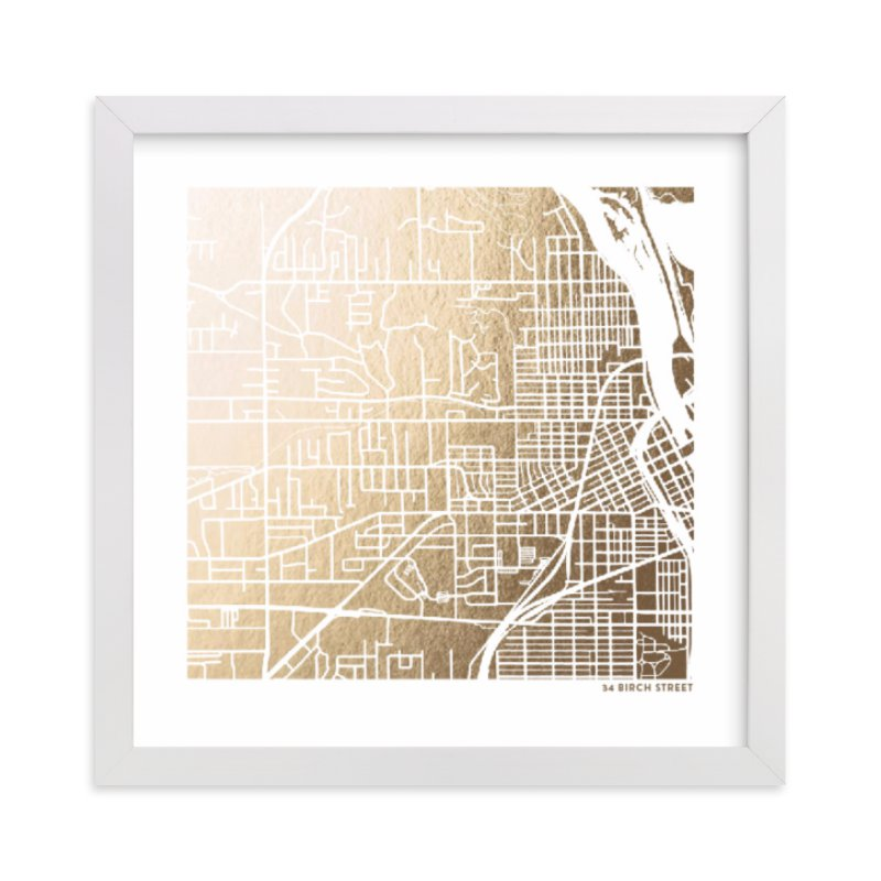 """Custom Map Filled Foil Art"" - Map Foil Art by Minted in beautiful frame options and a variety of sizes."