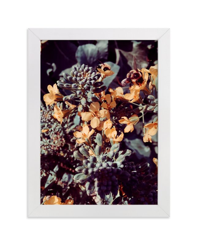"""Broccoli Bees"" - Art Print by Belia Simm in beautiful frame options and a variety of sizes."