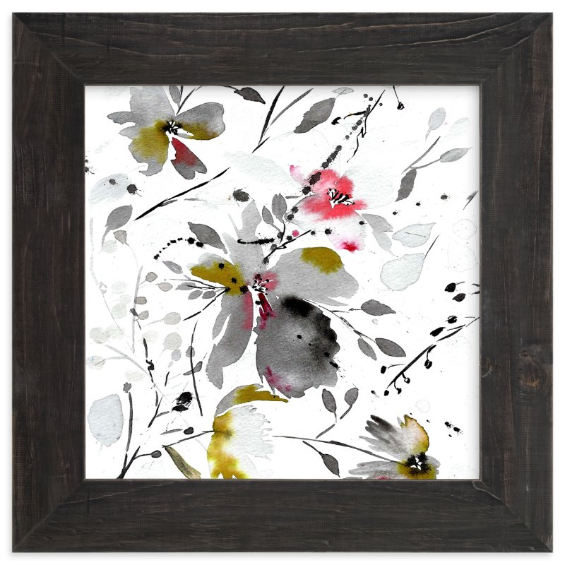 """black flower watercolor"" - Art Print by Tae Lee in beautiful frame options and a variety of sizes."