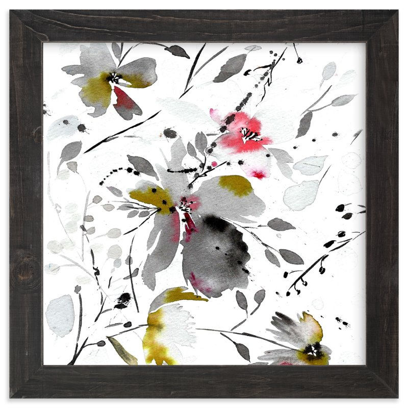 """""""black flower watercolor"""" - Art Print by Tae Lee in beautiful frame options and a variety of sizes."""