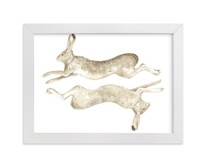 """""""Runny Bunny No.2"""" - Art Print by Eve Schultz in beautiful frame options and a variety of sizes."""