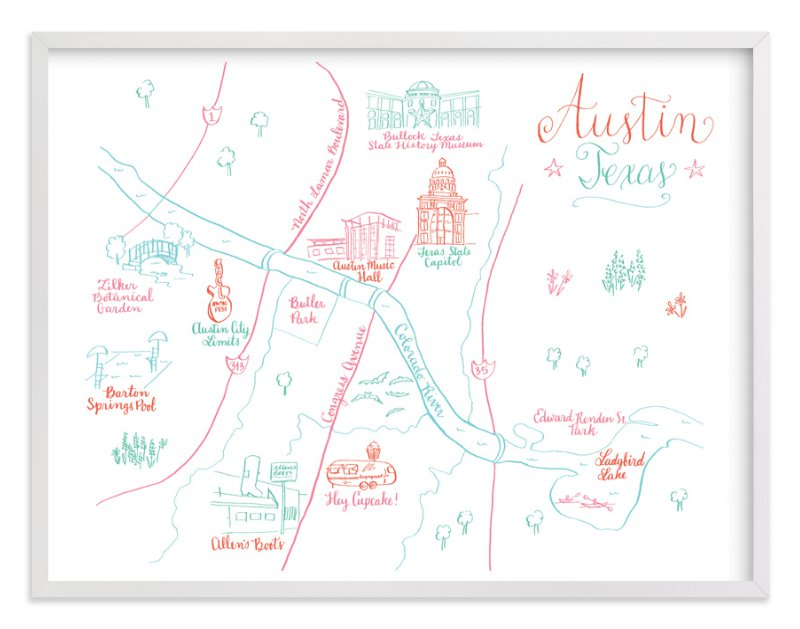 Austin, Texas Calligraphy Map Wall Art Prints by Megan Kelso | Minted